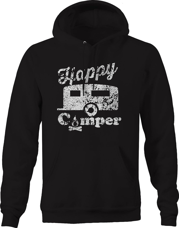 Distressed Happy Camper Camp Fire Trailer RV Sweatshirt
