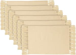 6 Pieces Fringe Placemats Western-Style Food Mat Cotton Woven Placemats Rectangular Beige Placemats for Fall Food Photography Props Thanksgiving Dinner Parties Weddings and Daily Use, 26 x 14.6 Inch