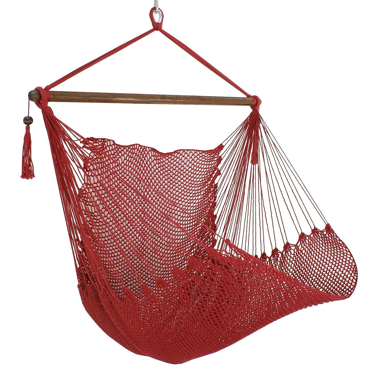 Zeny Caribe silla hamaca cuerda de barras transversales de porche Swing para colgar 40 cm asiento ancho: Amazon.es: Jardín