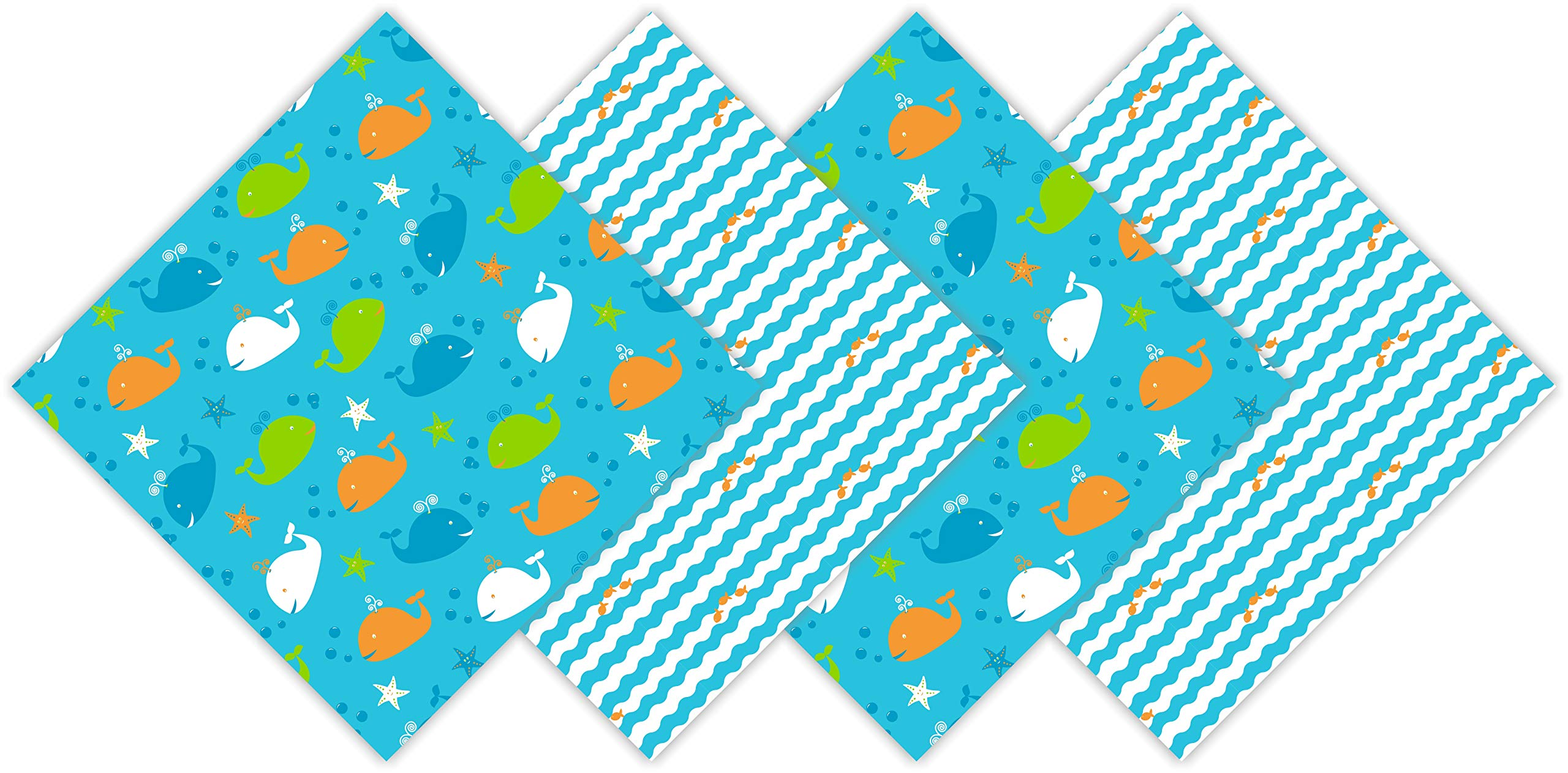 FUN KINS Funkins Reusable Cloth Napkins for Kids | Lunch Boxes | Eco-Friendly | Machine Washable for Easy Care | Name Tag | Set of 4, 12''x12'' Soft Cotton Napkins, Under The Sea, Whales