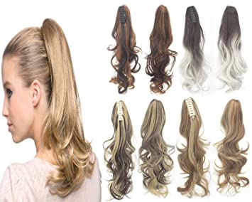 """7956cf6b0 Image Unavailable. Image not available for. Color: 18"""" Ponytail Long  Thick Curly Big Wave Claw Jaw Clip Ponytail Hair Extension Synthetic  Hairpieces"""