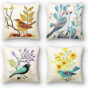 Krystal3 Outdoor Birds Throw Pillow Covers for Patio Furnitures Sunbrella Décor Vintage Decorative Cushion 18x18 Inches Set of 4 Porch Outside Garden Bench Pillows for Couch Sofa Summer Home Decor