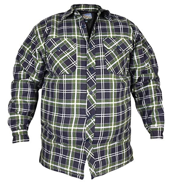 3febcd24a4 Mens Padded Quilted Lined Lumberjack Check Flannel Winter Casual Work Shirt   Amazon.co.uk  Clothing