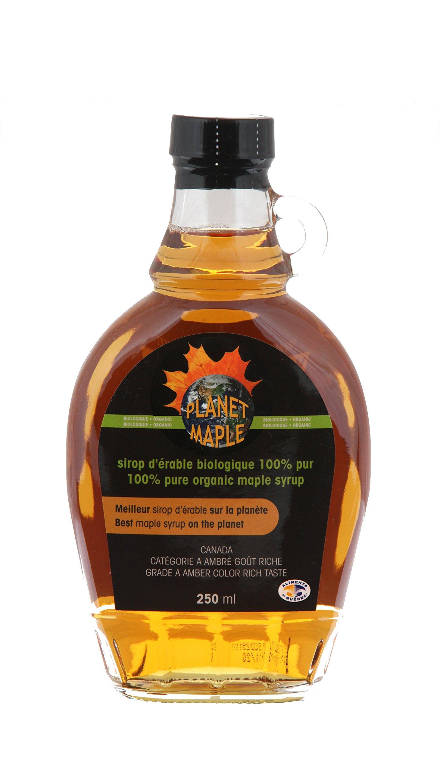 Planet Maple - Organic Maple Syrup - 250ml, Grade A, Amber Color, Vegan, Gluten Free, No Preservatives, 8.4fl. oz