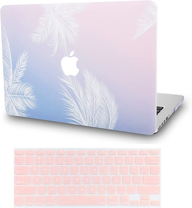 """KECC Laptop Case for MacBook Air 13"""" w/Keyboard Cover Plastic Hard Shell Case A1466/A1369 2 in 1 Bundle (Blue Feather)"""