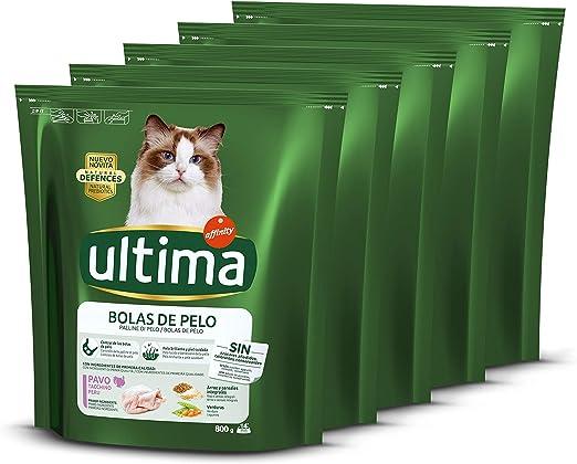 ultima Pienso para Gatos para Prevenir Bolas de Pelo con Pavo, Pack de 5 x 800gr - Total: 2.4 kg: Amazon.es: Productos para mascotas