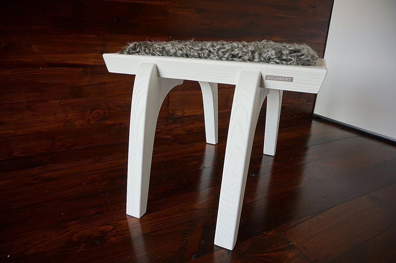 Minimalistisch Weiß Eichenholz Hocker / Stuhl mit echtem geschweiften Silber Schwedischen Gotland Schaffell - Designermöbel von MILABERT (S051602)