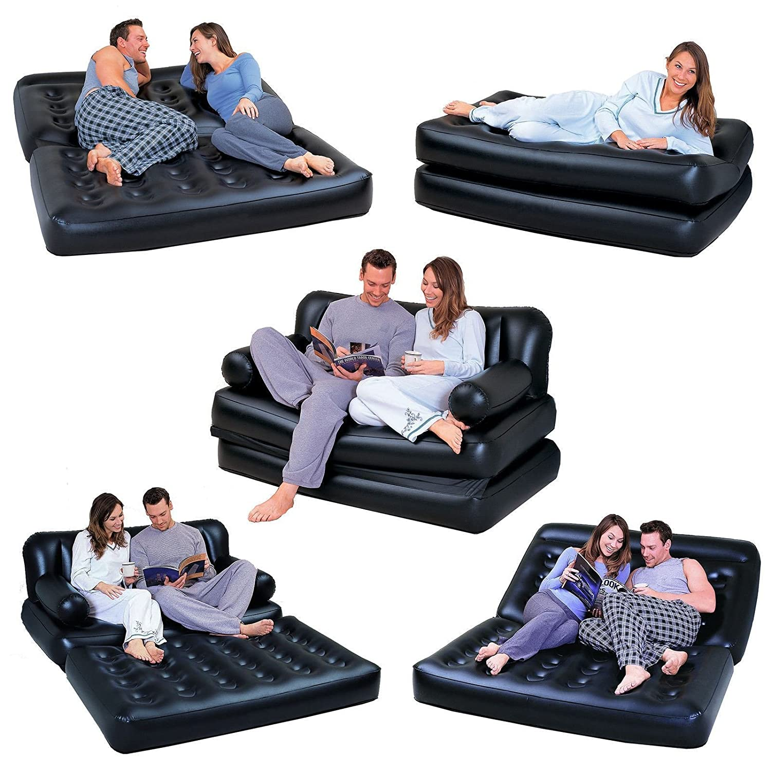 8a972545c91 NEW 5 IN 1 DOUBLE BLACK INFLATABLE AIR SOFA CHAIR COUCH LOUNGER BED MATTRESS   Amazon.co.uk  Kitchen   Home