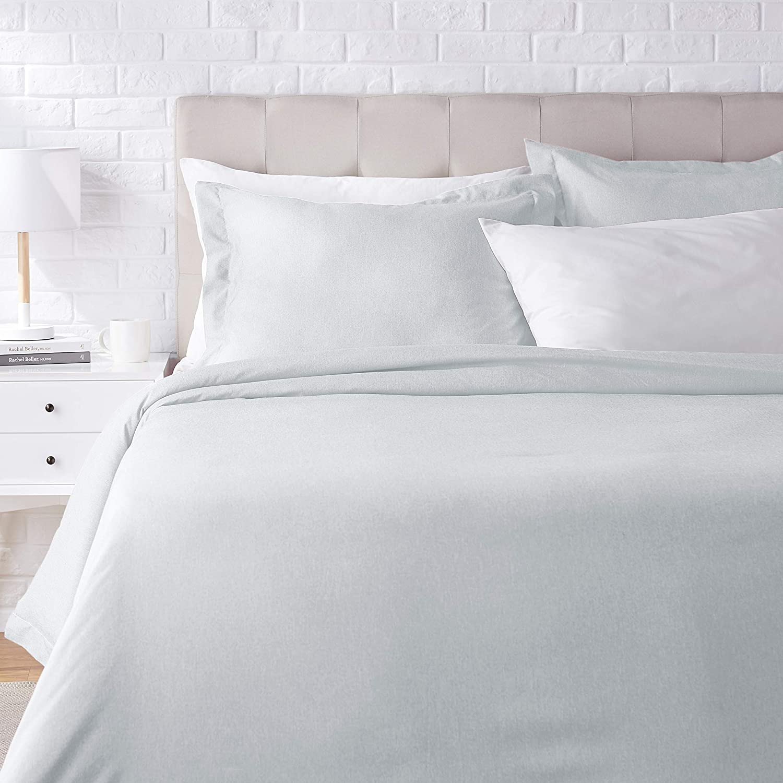 AmazonBasics Chambray Duvet Cover Bed Set - Full or Queen, Cool Aqua
