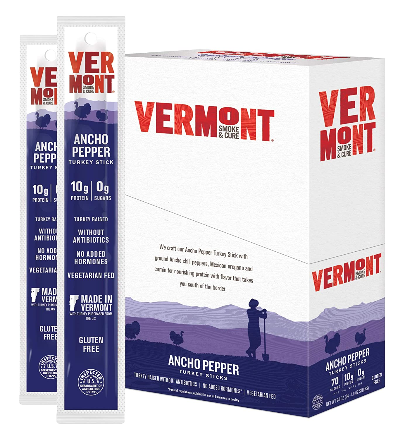 Vermont Smoke & Cure Meat Sticks, Turkey, Antibiotic Free, Gluten Free, Ancho Pepper, 1oz Stick, 24 Count