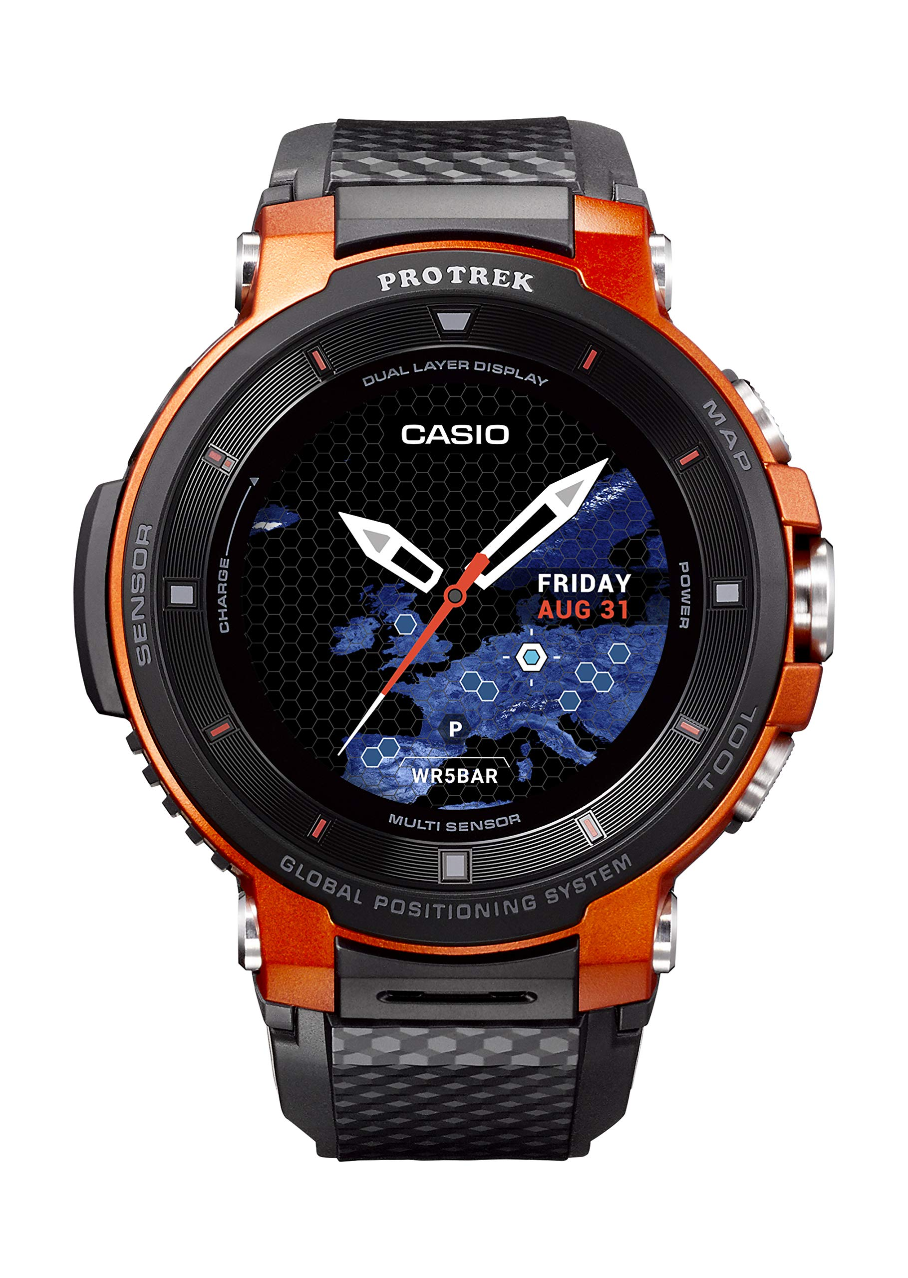 CASIO Pro Trek Touchscreen Outdoor Smart Watch Resin Strap, Black, 27 (Model: WSD-F30-RGBAU