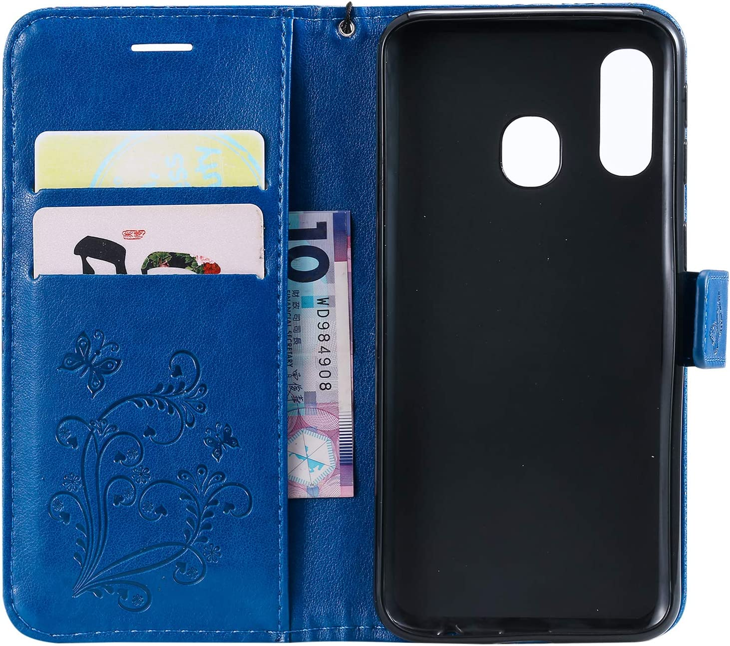 Blue Amocase Wallet Leather Case with 2 in 1 Stylus for Samsung Galaxy A40,Premium Strap 3D Butterfly Magnetic PU Leather Stand Shockproof Card Slot Case for Samsung Galaxy A40