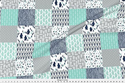 Spoonflower bears fabric forest bear quilt square quilt navy mint grey kids nursery baby