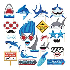 CC HOME Shark Zone-Baby Shark Photo Booth Props (25 Pieces),Shark Birthday Party Decorations Shark Party Favor for Boys ,Girls ,Nautical ,Ocean Creature ,Under the Sea Animal ,School Functions,Baby Shower,Birthday Party Decorations