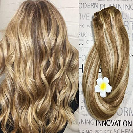 Clip in Hair Extensions Human Hair Golden Brown to Blonde