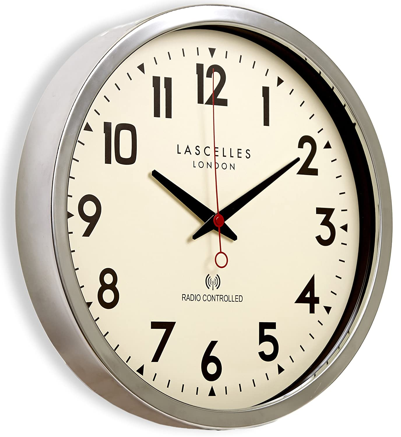 Roger lascelles chrome radio controlled wall clock amazon roger lascelles chrome radio controlled wall clock amazon kitchen home amipublicfo Gallery