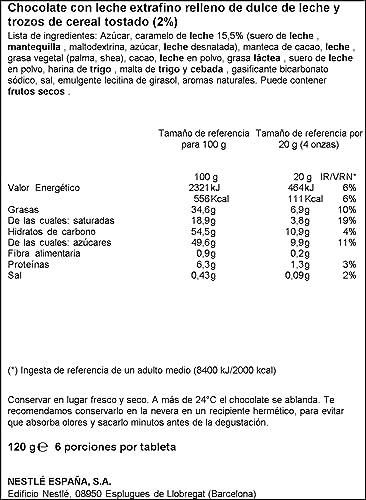 Nestlé - Extrafino Tableta De Chocolate Con Leche Relleno De Dulce De Leche 120 g: Amazon.es: Alimentación y bebidas