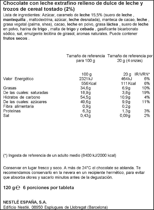 Nestlé Extrafino - Tableta de Chocolate con Leche Relleno de Dulce de Leche - 5 Paquetes de 120 g: Amazon.es: Alimentación y bebidas