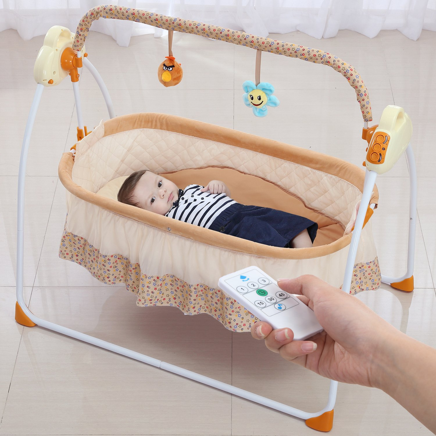 Electric Baby bassinet Swing, Music Remoter Control Sleeping Basket Bed(brown)