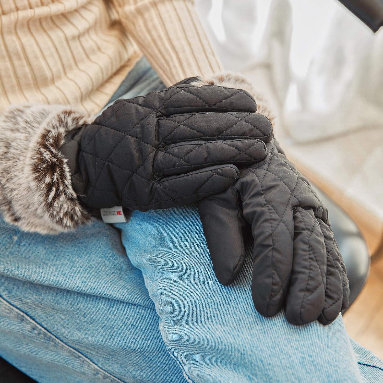 accsa Damen Skihandschuhe f/ür Winter 3M Thinsulate Warm Pelz Eleganz Handschuhe f/ür Frauen Winddicht /& Wasserdicht Winterhandschuhe F/äustlinge f/ür Party Wandern Reisen Skifahren