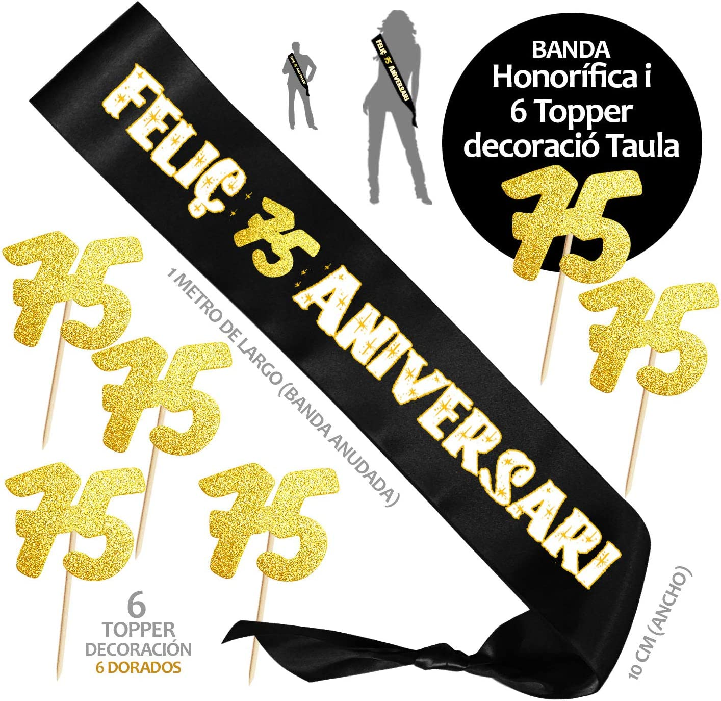 Inedit Festa Feliz 75 A/ños Cumplea/ños Banda Honor/ífica Feliz 75 Cumplea/ños y 6 Topper 1944 Naciste