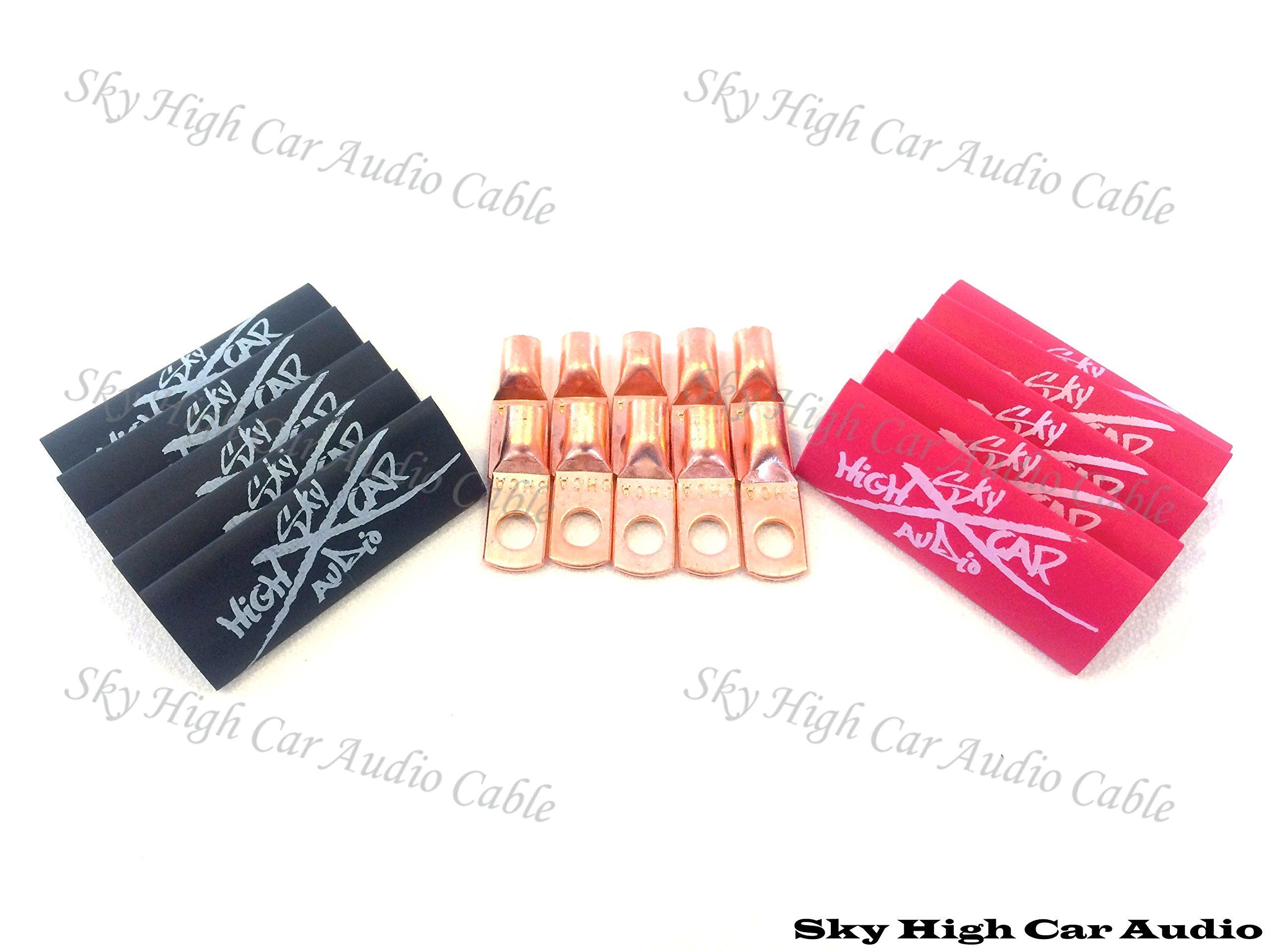 (10) 8 Gauge Copper Ring Terminals 1/4'' Red/black Heat Shrink Tubing Lugs