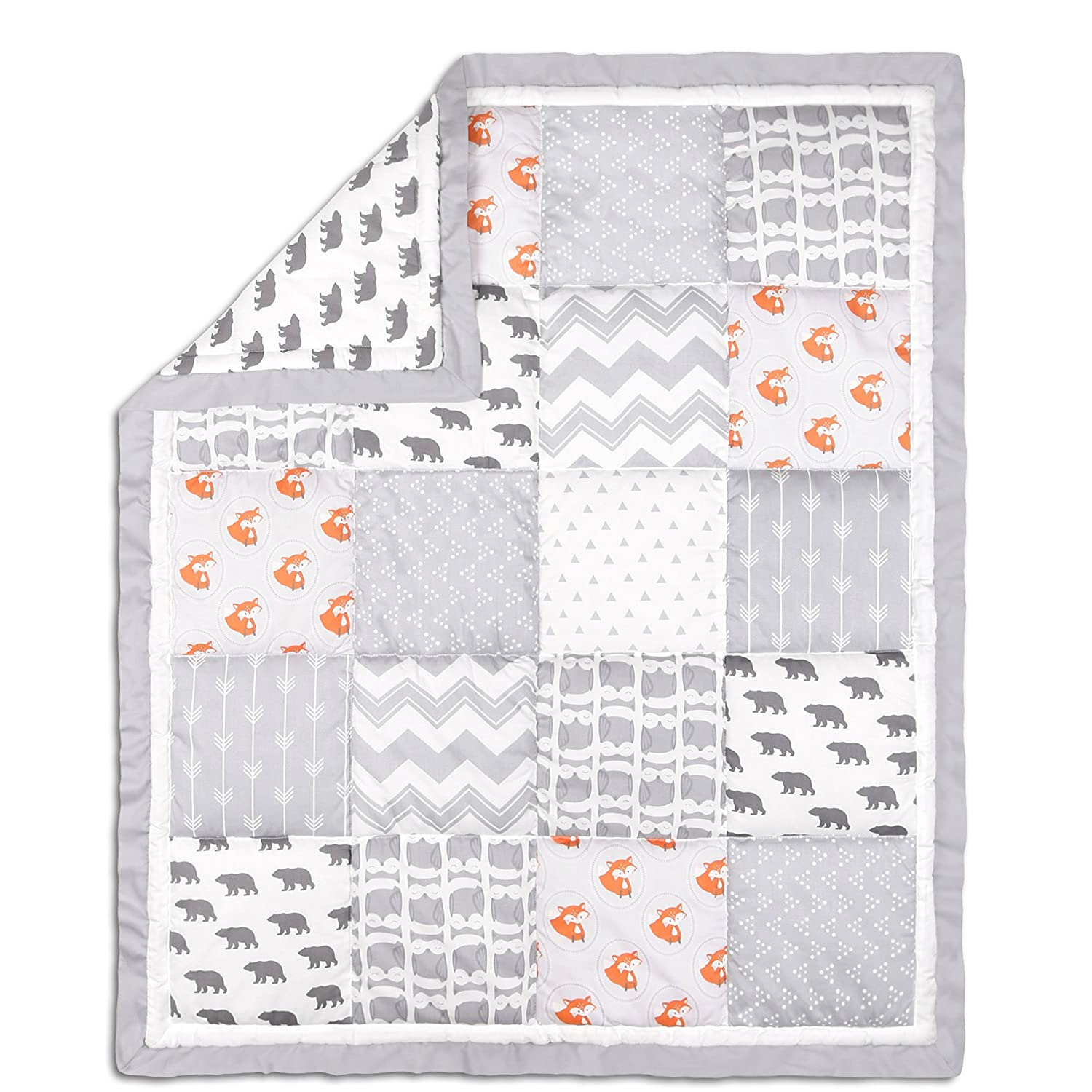 Grey and Orange Woodland Friends Patchwork Crib Quilt by The Peanut Shell Farallon Brands QPBRGY