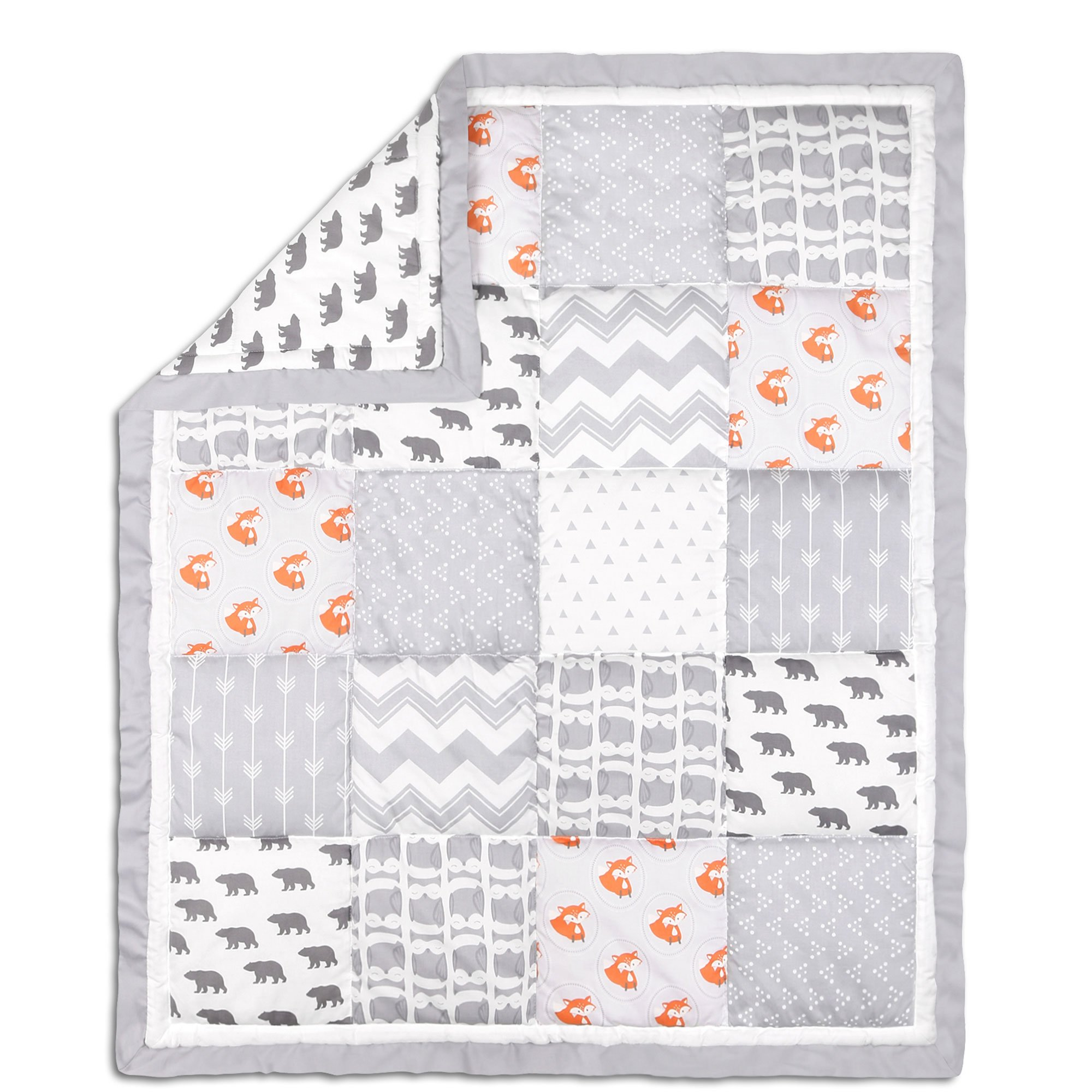 Grey and Orange Woodland Friends Patchwork Crib Quilt by The Peanut Shell by The Peanut Shell