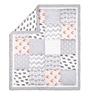 Grey and Orange Woodland Friends Patchwork Crib Quilt by The Peanut Shell