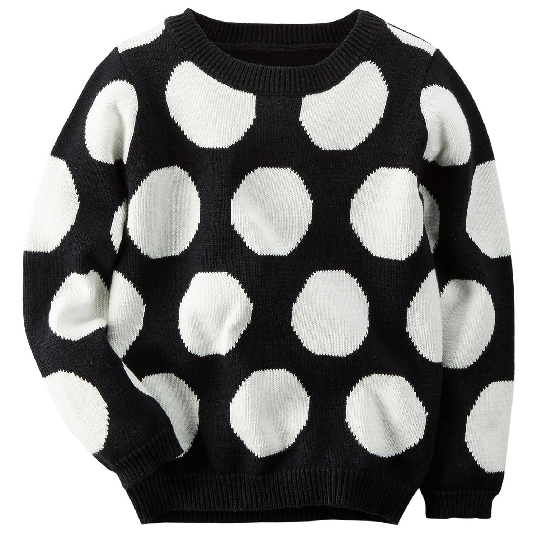 Carter's Girl L/S Polka Dot Sweater; Black/White (4)
