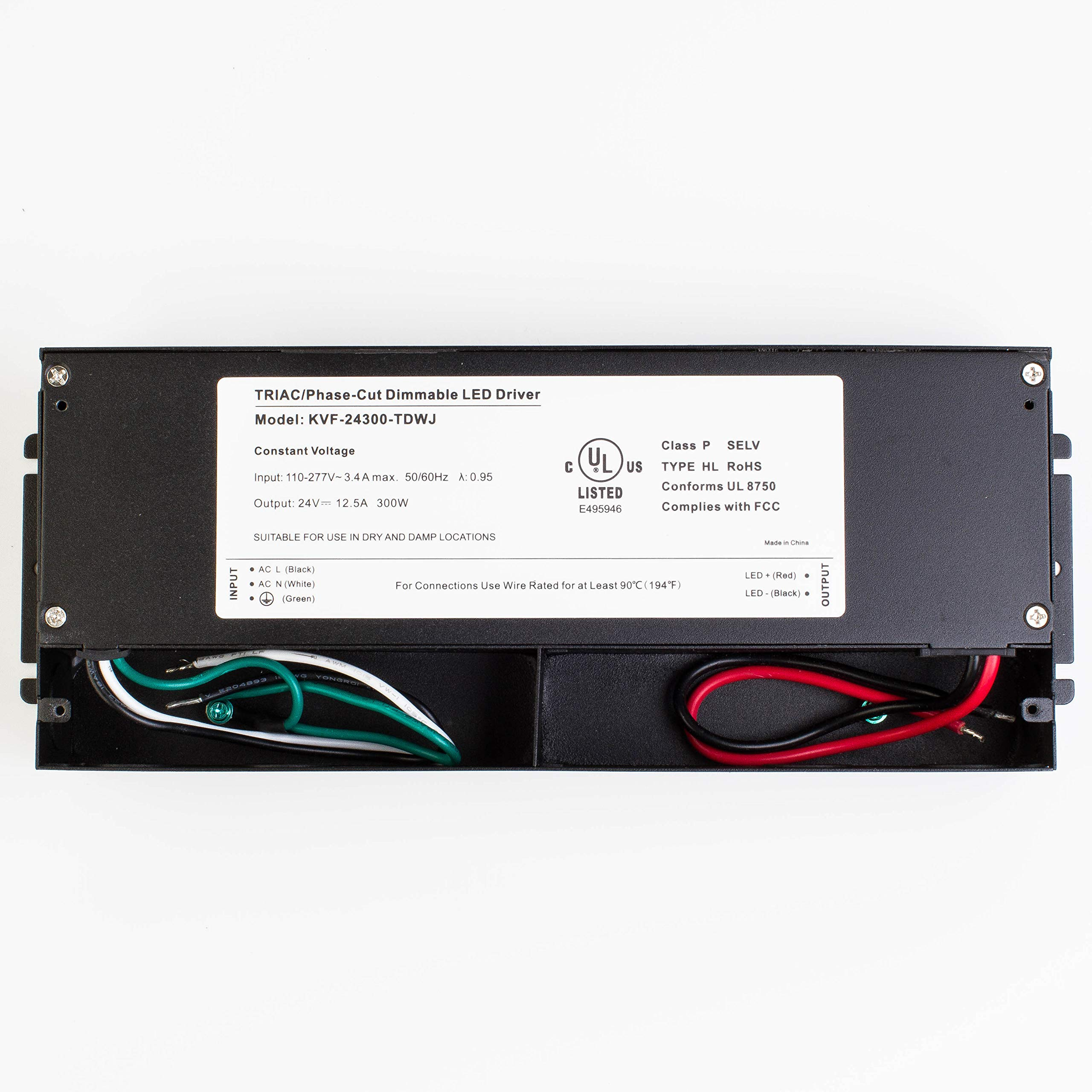 LEDupdates 24v UL Listed 300w Triac Dimmable Driver 110v - 277V AC to DC Transformer Constant Voltage Power Supply for LED Strip light Control by AC Wall Dimmer (24v 300w) by LEDUPDATES (Image #9)
