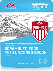 Mountain House Scrambled Eggs with Bacon Pro-Pak | Freeze Dried Backpacking & Camping Food | One Serving | Gluten-Free