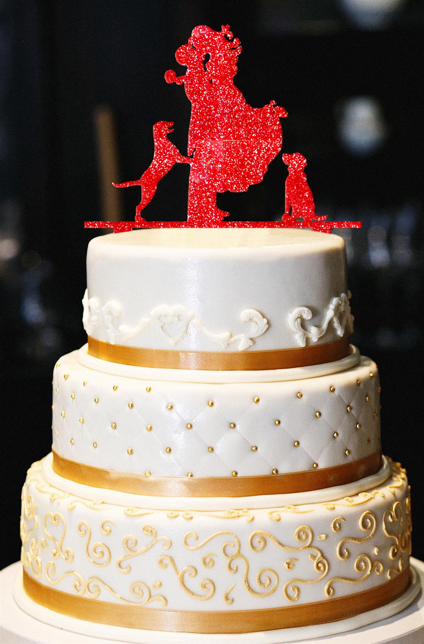 Mr. & Mrs. with Dogs Wedding Cake Topper, Glitter Wedding Cake Topper, Engagement Cake Topper, Gold Cake Topper, Gold Glitter Cake Topper (14'', Glitter Red)