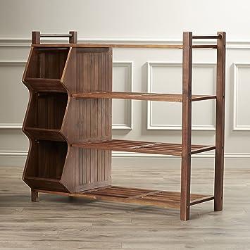 Outdoor Shoe Rack Organizer Shelf Storage 3 Cubby E Solid Wood Porch Cabinet