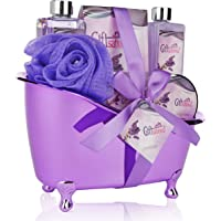 Spa Gift Basket Lavender Fragrance Cute Tub-Shaped Holder With Bath Accessories, Best Mother's Day Gift Set, Wedding…