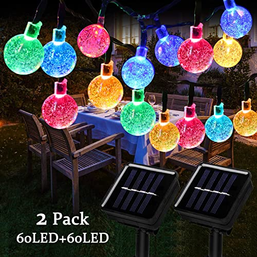 Beinhome 2 Pack Solar Lights Outdoor String 36 FT 60 LED 8 Modes Waterproof Solar Powered String Light Decorative for Garden, Patio, Yard, Lawn, Holiday Multi-Color