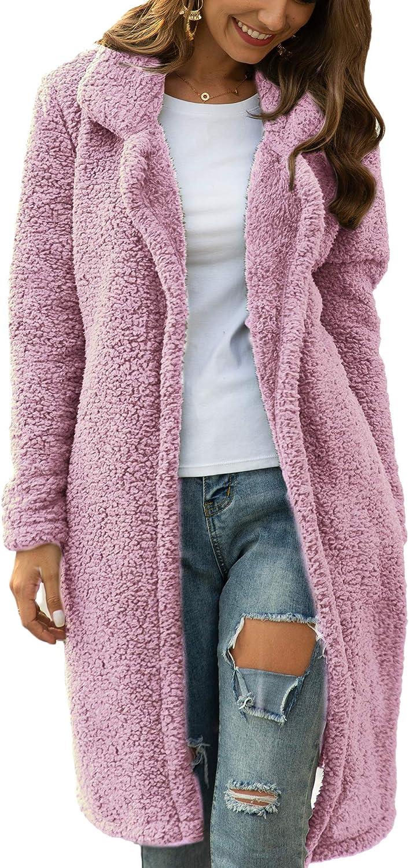 Women Long Cardigan Open Front Faux Fur Coats Fuzzy Fleece Warm Winter Jackets