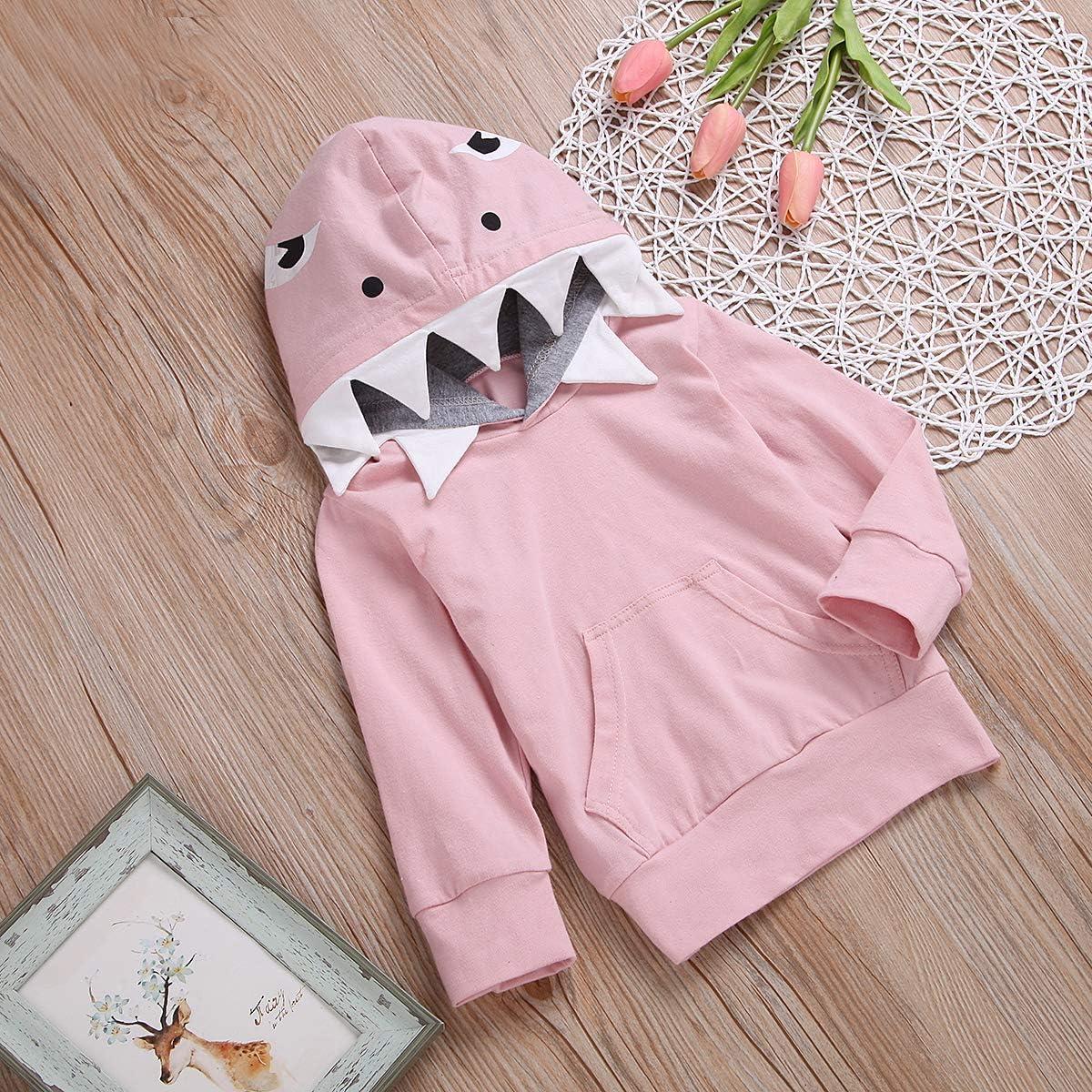 Unisex Baby Autumn Winter Shark Hooded Sweatshirt Boys Girls Hoodies with Kangaroo Muff Pockets /& Shark Fin