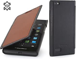StilGut Book Type Case, Custodia in Vera Pelle a Libro per Blackberry Leap