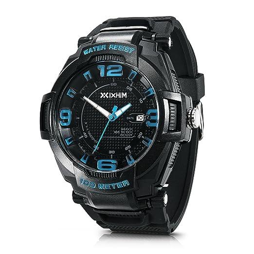 Hombres del reloj deportivo cuarzo # a2201-kb por ixhim - Analógico tiempo pantalla, azul 100 m 100 m resistente al agua: IXHIM: Amazon.es: Relojes