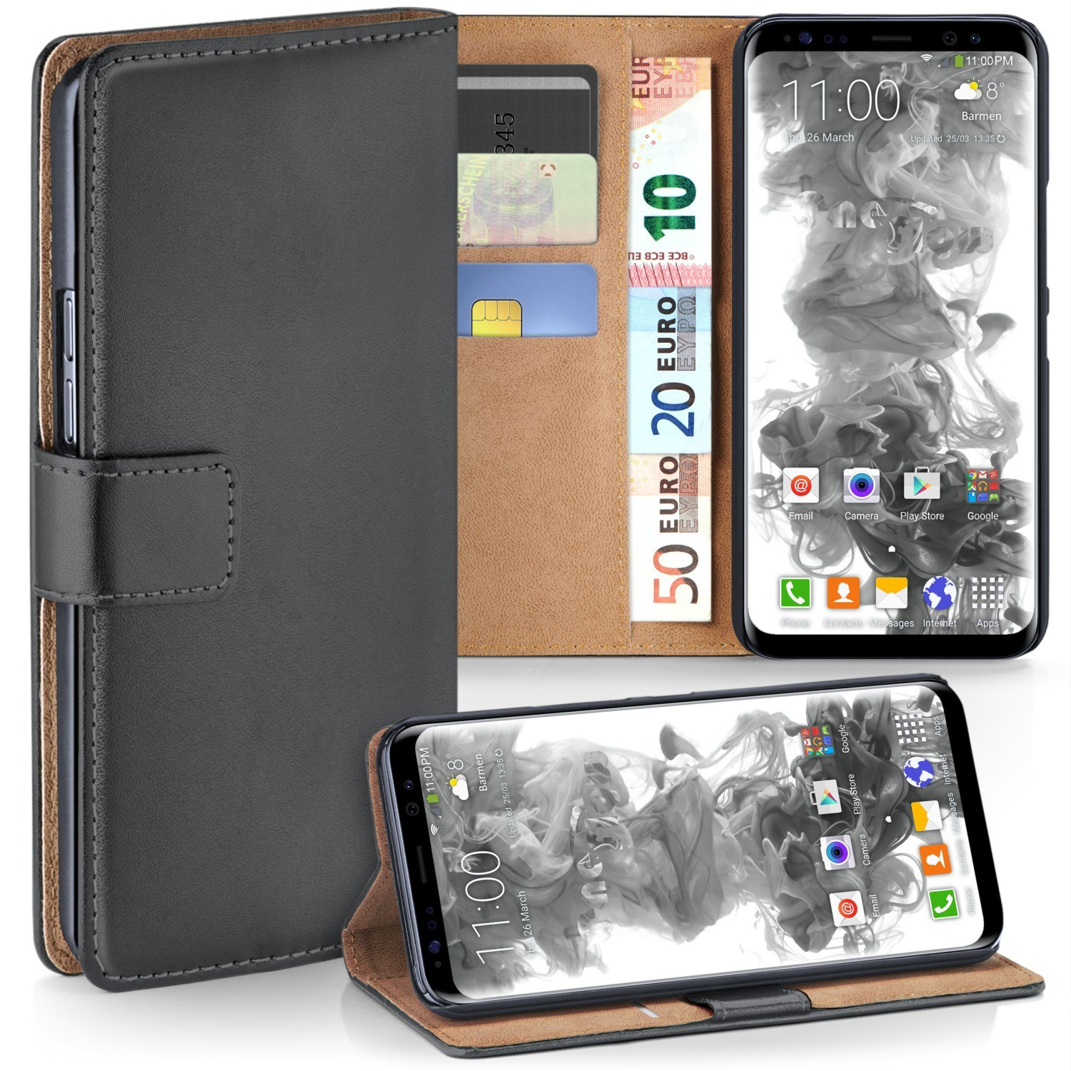 Galaxy S8 Wallet Case, OneFlow [Credit Card Holder Slots and Kickstand] PU Wallet Case for Samsung Galaxy S8 Faux Leather Flip Folio Cover - ANTHRACITE-GRAY