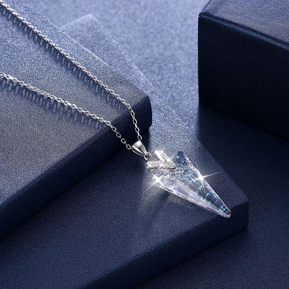 myazs8580 LEKANI Crystals from Swarovski S925 Sterling Silver Triangle Romantic Pendant Necklace