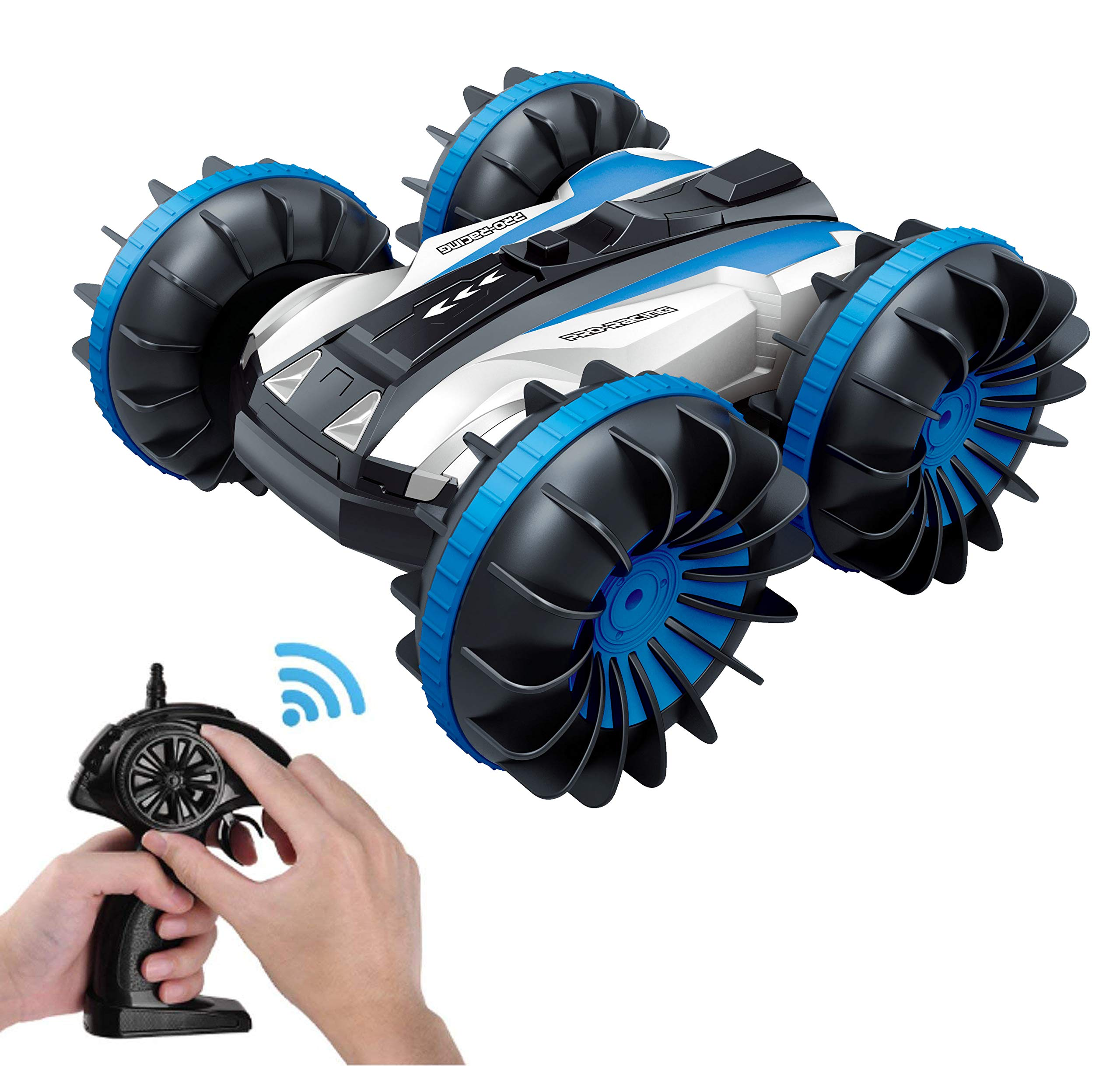 KINGBOT Waterproof RC Car, 2.4Ghz 4WD Stunt Car 6CH Remote Control Amphibious Off Road Electric Race Cars with 2 Sides Tank Vehicle 306° Spins & Flips Water & Land Electric Stunt Car Toys for Children