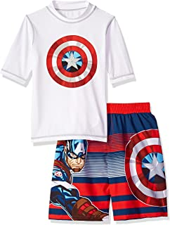6e3ad55373 Amazon.com: Avengers Superhero Boy's Swim Trunks and Rash Guard Set ...