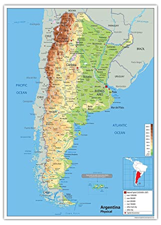 Argentina Physical Map - Paper Laminated (A1 Size 59.4 x 84.1 cm ...