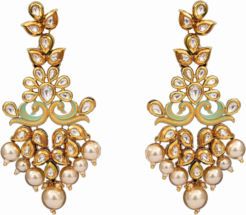 JewelryGift Pendientes colgantes tradicionales y perlas bañados en oro de 18 quilates con piedra Kundan tachonada, joyería étnica de moda para mujeres y niñas
