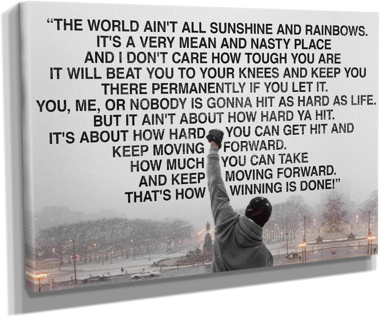 Rocky Balboa Speech Movie Canvas Wall Art Home Decor (45in x 30in Gallery Wrapped)
