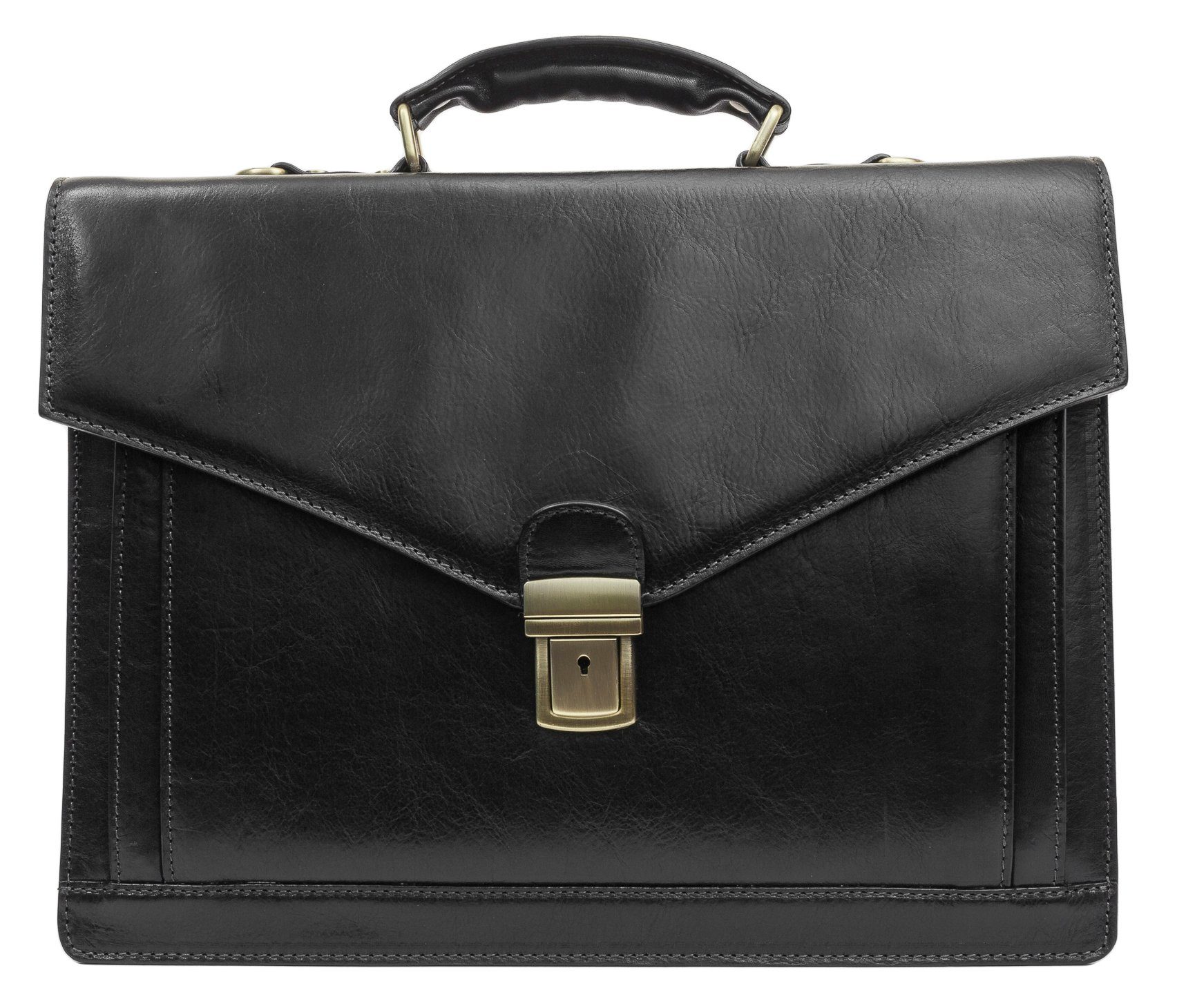 Leather Briefcase Laptop Bag Medium Attache Unisex Black Classic Style - Time Resistance by Time Resistance