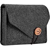 ProCase MacBook Power Adapter Case Storage Bag, Felt Portable Electronics Accessories Organizer Pouch for MacBook Laptop Power Supply Magic Mouse Cables Power Bank Accessories Charger –Black