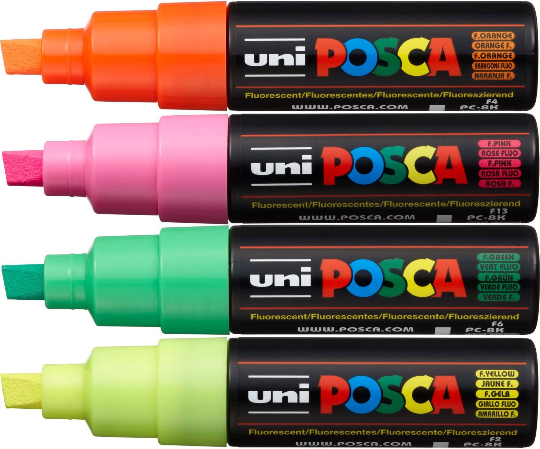 PC-8K Posca Broad Chisel Tip 4 Piece Pack Fluorescent Assorted: Amazon.es: Juguetes y juegos
